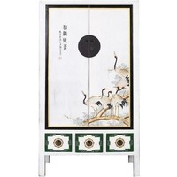Antique Chinese Wedding Cabinet White Handpainted Cranes W101xD56xH190cm