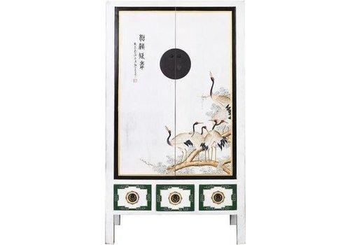 Fine Asianliving Antieke Chinese Bruidskast Handbeschilderde Kraanvogels Wit B101xD56xH190cm