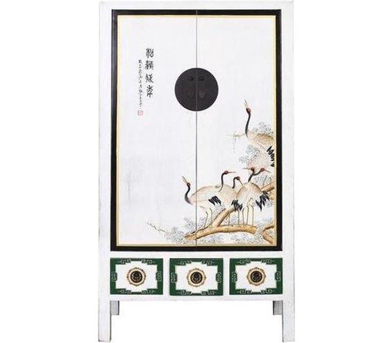 Antiker Chinesischer Hochzeitsschrank Kraniche Weiß B101xT56xH190cm