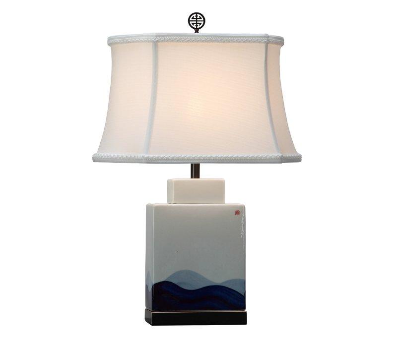 Chinesische Tischlampe Porzellan mit Schirm Handbemalt