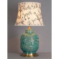 Oosterse Tafellamp Porselein Turquoise Dorp
