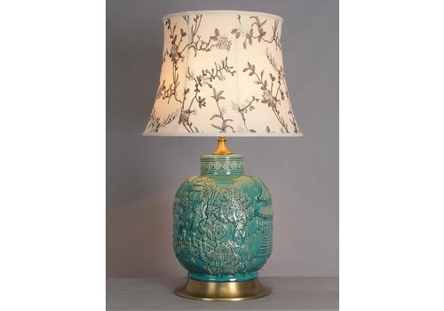 Fine Asianliving Chinese Tafellamp Porselein Turquoise Dorp
