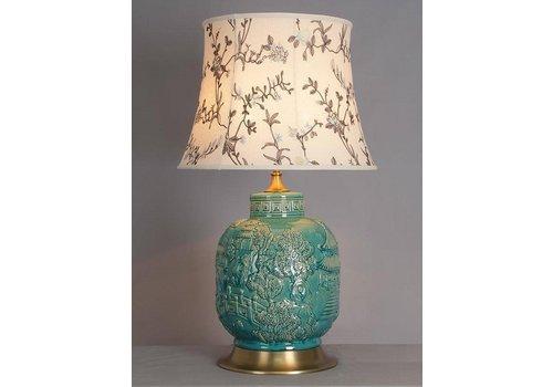 Fine Asianliving Oriental Porcelain Table Lamp Turquoise Village
