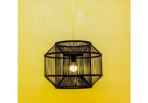 Fine Asianliving Lámpara de Techo Colgante de Bambú Negra - Carlson D.50xA35cm