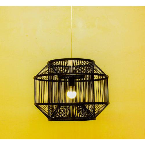 Fine Asianliving Ceiling Light Pendant Lighting Bamboo Black - Carlson D50xH35cm
