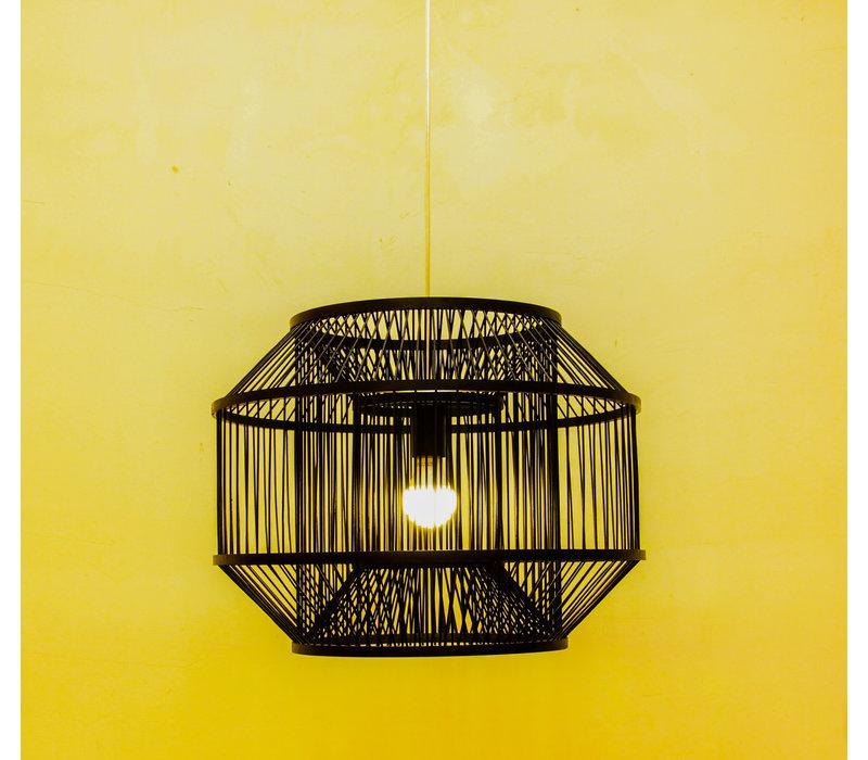 Lampada a Sospensione in Bambù Nera - Carlson D50xA35cm