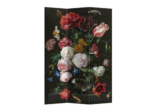 Fine Asianliving Paravent en Toile L120xH180cm 3 Panneaux Jan Davidz van Heem Nature Morte