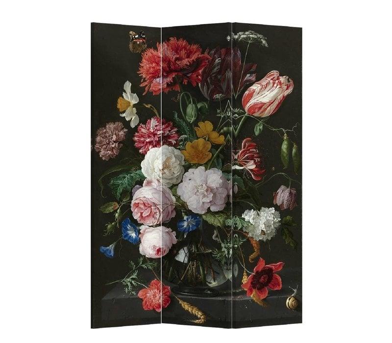 Kamerscherm Scheidingswand B120xH180cm 3 Panelen Jan Davidz van Heem Stilleven