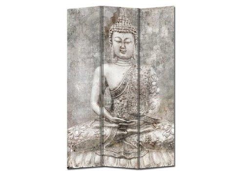 Fine Asianliving Paravent en Toile L120xH180cm 3 Panneaux Bouddha