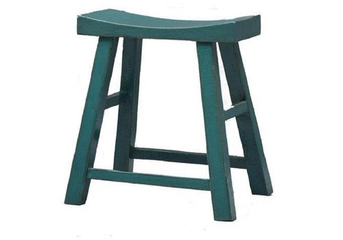 Fine Asianliving Chinese Stool Wood Glossy Blue W45xD21xH50cm