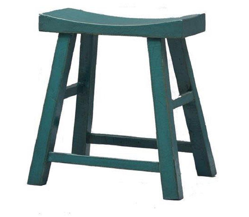 Chinesischer Hocker Holz Blau B45xT32xH60cm