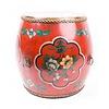 Fine Asianliving Chinesischer Beistelltisch Handbemalte Blumen Rot