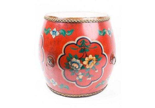 Fine Asianliving Chinese Trommel Bijzettafel Handgeschilderde Bloemen Rood