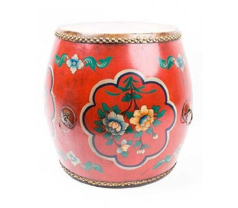 Chinese Trommel Bijzettafel Handgeschilderde Bloemen Rood