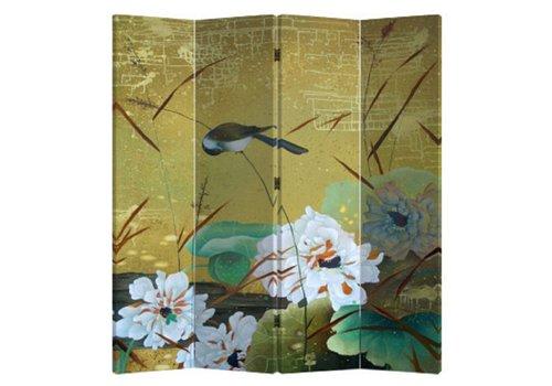 Fine Asianliving Chinees Kamerscherm Oosters Scheidingswand 4 Panelen Zwaluwen en Bloemen L160xH180cm