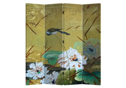 Fine Asianliving Chinese Oriental Room Divider Folding Privacy Screen 4 Panel Swallows and Flowers L160xH180cm