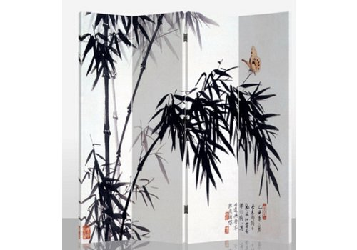 Fine Asianliving Paravento Divisori in Tela L160xA180cm 4 Pannelli Bambù