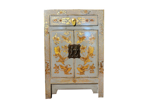Fine Asianliving Chinese Bedside Table W40xD32xH60 Handpainted Butterflies Grey Blue