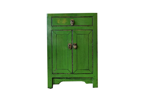 Fine Asianliving Chinese Bedside Table Glossy Green W40XD32XH60cm