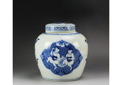 Fine Asianliving Chinesischer Ingwertopf Porzellan Handbemalt Kinder Blau B23xH23cm
