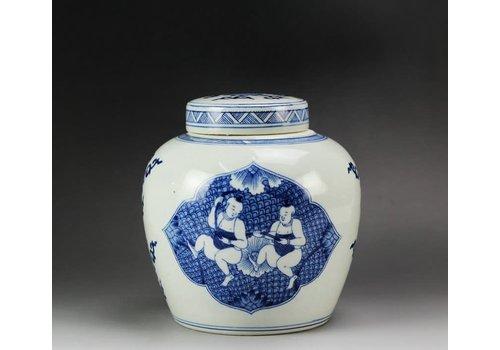 Fine Asianliving Pot à Gingembre Chinois Enfants Bleu Peint à la Main L23xH23cm