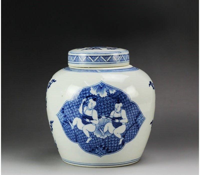Chinese Gemberpot Blauw Kindjes Handgeschilderd L23xH23cm