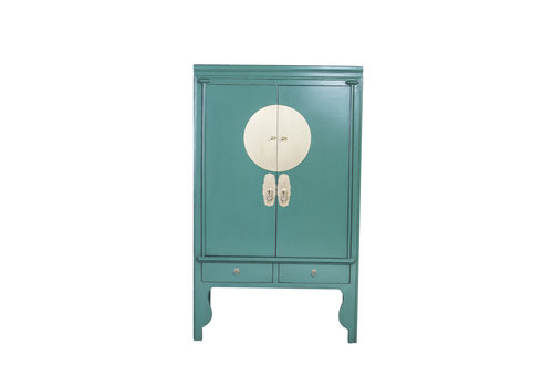 Fine Asianliving Chinese Wedding Cabinet Pine Green - Orientique Collection W100xD55xH190cm