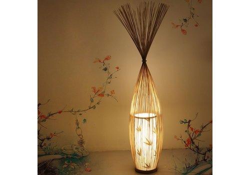 Fine Asianliving Lampada da Terra Orientale in Bambù Fatta a Mano - Demi