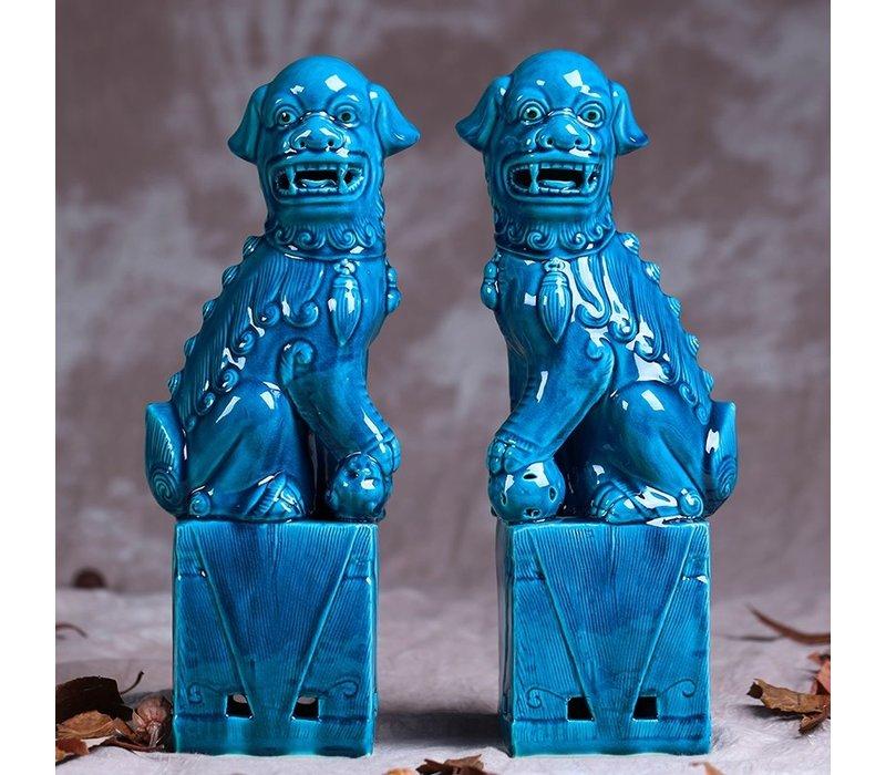 Chinese Foo Dogs Blue Porcelain Set/2 W11xD7xH28cm