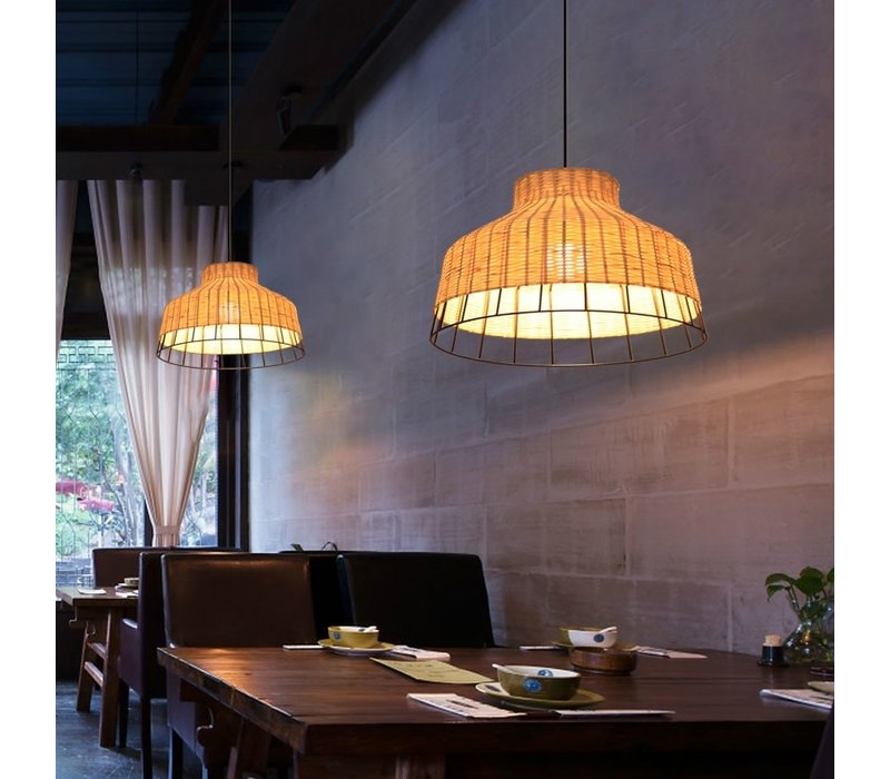 Bamboe Industrieel Hanglamp Handgemaakt - Trinity D40xH28cm