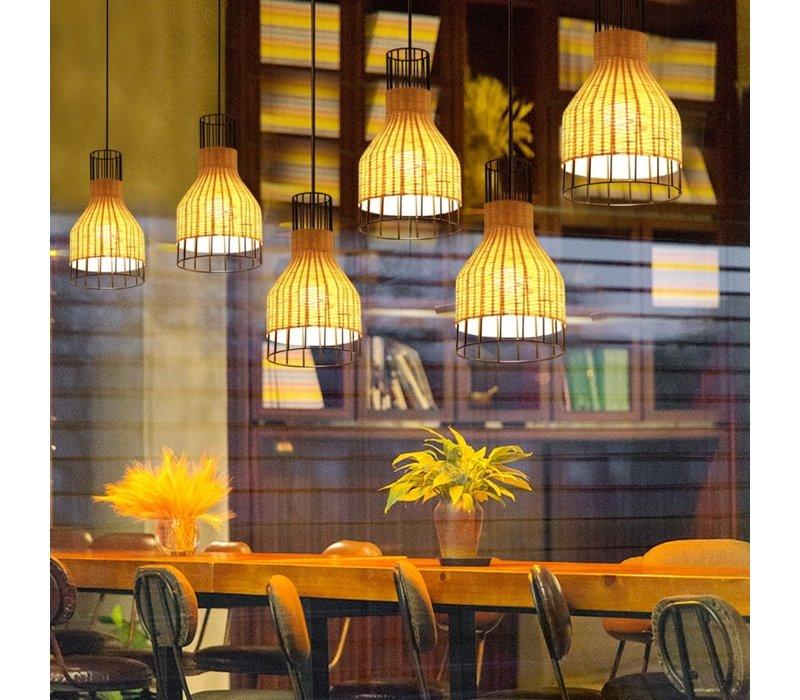Lampada a Sospensione in Bambù Industriale - Xiron D20xA35cm