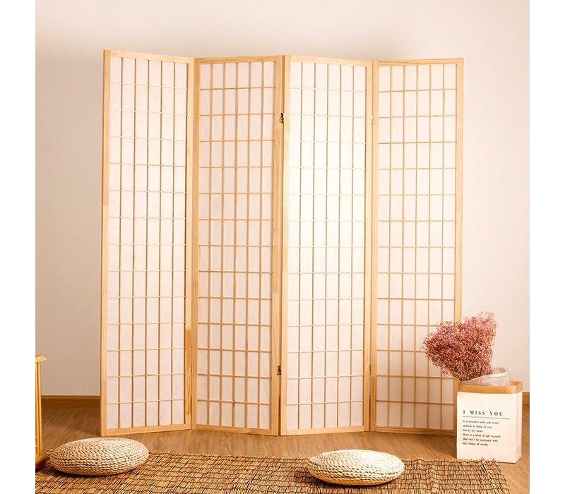 Japanse Kamerscherm B180xH180cm 4 Panelen Shoji Rijstpapier Naturel - Tana