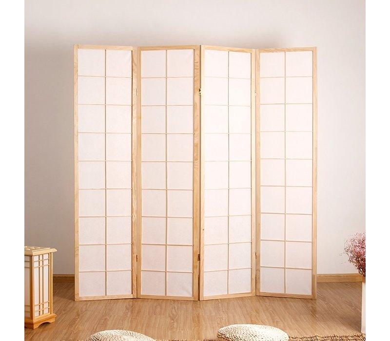Biombo Separador Japonés A180xA180cm 4 Paneles Shoji Papel de Arroz Natural