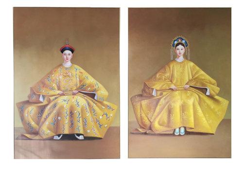 Fine Asianliving Chinese Schilderij Set/2 Chinees Keizer Koppel Handgeschilderd