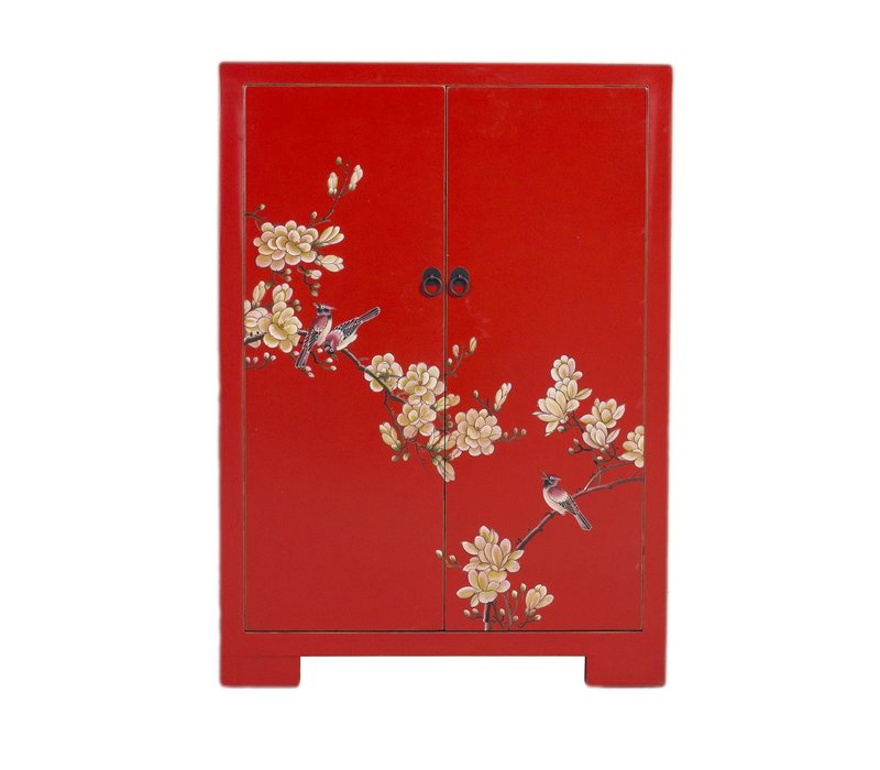 Chinese Kast Rood Handgeschilderde Bloesems B80xD35xH99cm