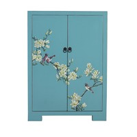Chinese Cabinet Blue Handpainted Blossoms W80xD35xH99cm