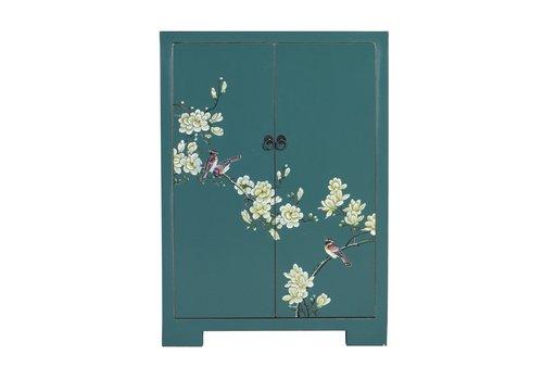Fine Asianliving Chinese Kast Teal Handgeschilderde Bloesems B80xD35xH99cm