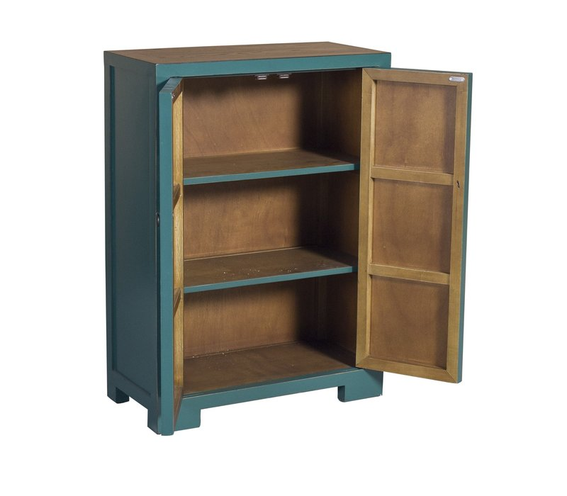 Chinese Cabinet Teal Handpainted Blossoms W80xD35xH99cm