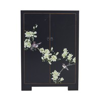 Chinese Cabinet Black Handpainted Blossoms W80xD35xH99cm