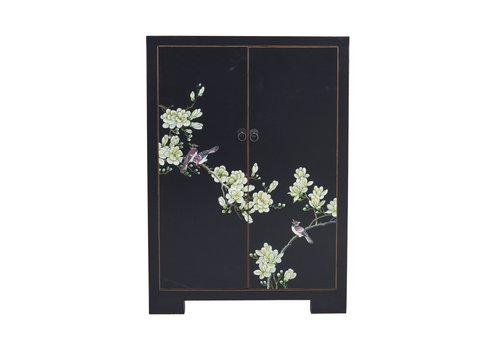 Fine Asianliving Chinese Cabinet Black Handpainted Blossoms W80xD35xH99cm