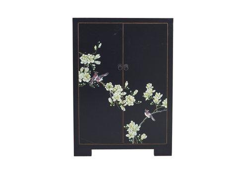Fine Asianliving Chinese Kast Zwart Handgeschilderde Bloesems B80xD35xH99cm