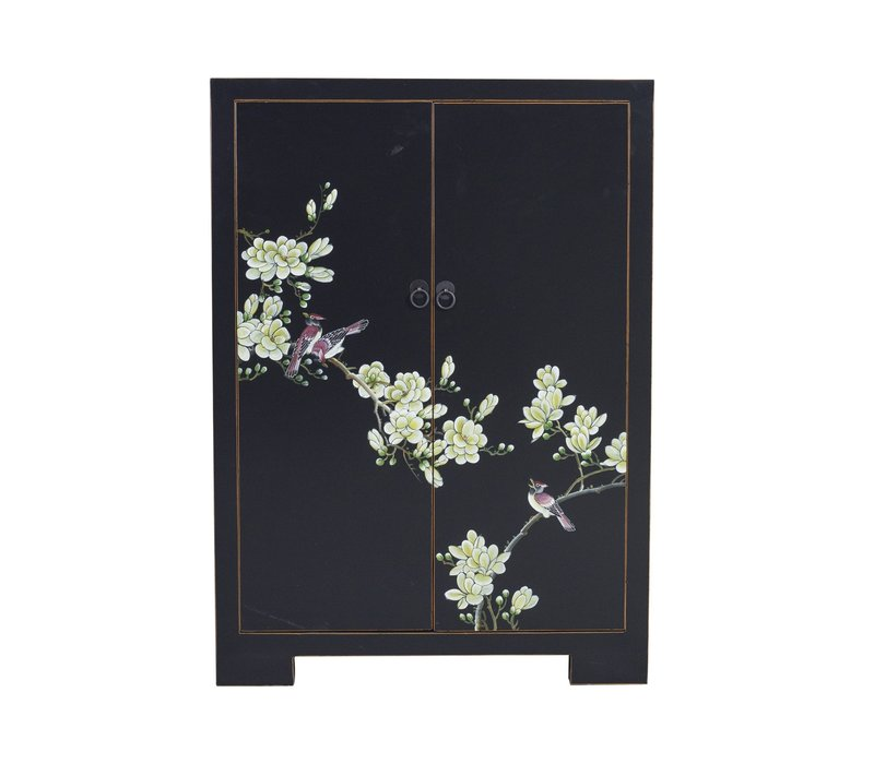 Chinese Kast Zwart Handgeschilderde Bloesems B80xD35xH99cm