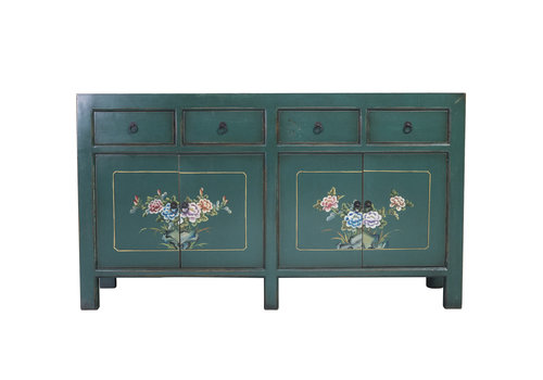 Fine Asianliving Chinese Sideboard Teal Handpainted Flowers W154xD45xH87cm