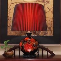 Chinese Tafellamp Porselein Chinese Pioenen Rood