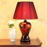 Chinese Table Lamp Porcelain Black Peonies D43xH66cm