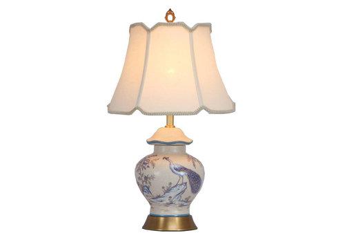 Fine Asianliving Lampada da Tavolo Cinese in Porcellana con Paralume Dipinta a Mano Pavone