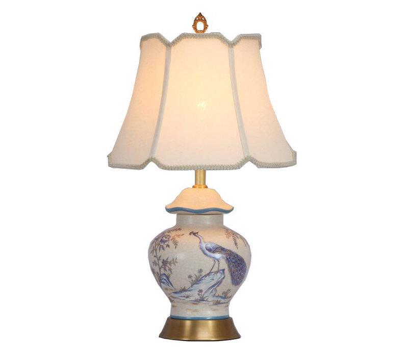Lampada da Tavolo Cinese in Porcellana con Paralume Dipinta a Mano Pavone