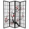 Fine Asianliving Japanse Kamerscherm B180xH180cm 4 Panelen Shoji Rijstpapier Zwart - Sakura