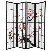 Japanese Room Divider Shoji W180xH180cm Rice-paper Black - Sakura Cherry Blossoms