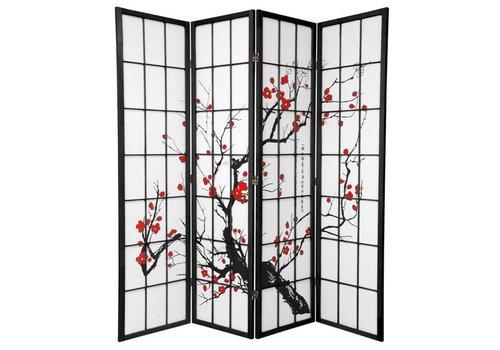 Fine Asianliving Japanese Room Divider 4 Panels W180xH180cm Privacy Screen Shoji Rice-paper Black - Sakura Cherry Blossoms